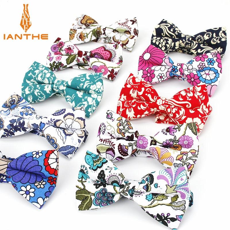 2018 Brand New Mens Fashion Vintage Floral Print Cotton Bowtie For Men Wedding Suits Neck Ties Corbatas Gravata Dress Shirts Tie