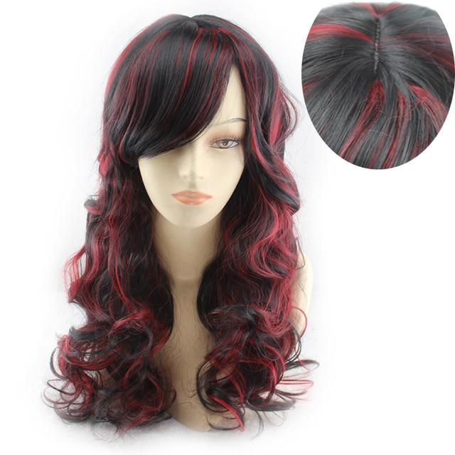 Poni miring wig Anggur merah highlights Fashion wanita bergelombang Panjang  keriting rambut hitam rambut Sintetis wig d717a14409