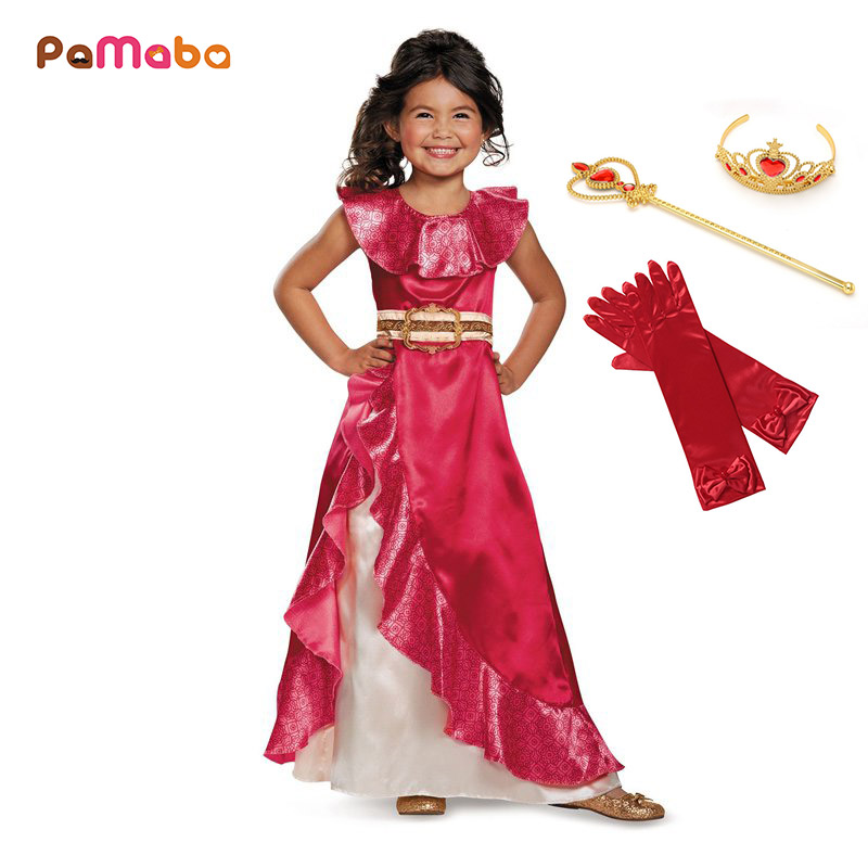 PaMaBa Girls Fancy Elena Of Avalor Costume Sash Belted Novelty Festival Princess Elena Dress-up Kids Halloween Cosplay Outfits