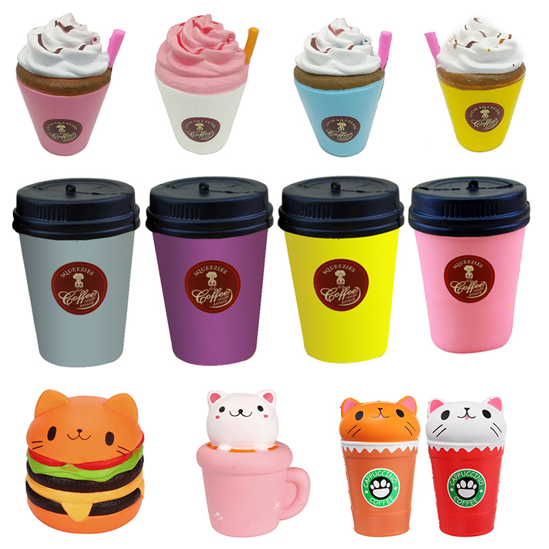 Burger cat Milk Coffee Cup Squishy Slow Rising Jumbo Phone Strap Pendant Cream Scented Bread Cake Xmas Gift Fun Kid Toy dropship watch band12mm 14mm 16mm 18mm 20mm lizard pattern black genuine leather watch bands strap bracelets silver pin watch buckle