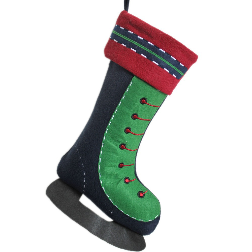 Free Shipping! Ice Skate Tie Decoration Design Christmas Stocking-in ...