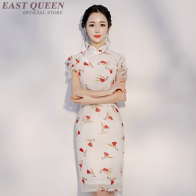 traditional chinese clothing lady cheongsam qipao chiffon retro floral printed short sleeve party dress elegant AA3782 Y a
