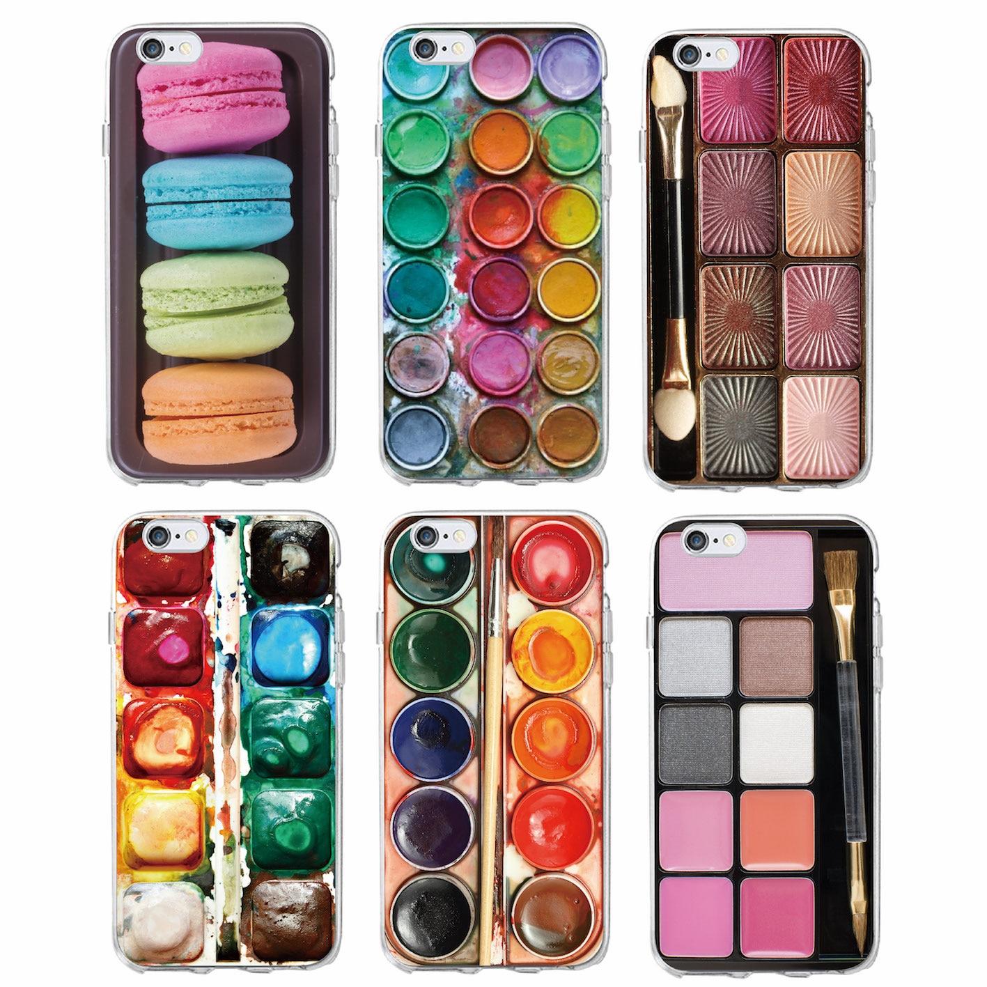 524ce22a39d Juego de colores de agua paleta de pintura Macaroon maquillaje suave funda  de teléfono para iPhone