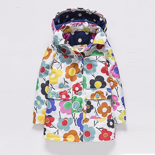 Free Shipping 2016 New Autumn or Winter (2-6)Years old Children Girls Long Jackets and Kids Wind and WarmThicken Outerwear Coat