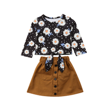 Fashion Toddler Girl Clothing Kids Girls Clothes Set Floral Long Sleeve Crop Tops T-shirts Mini Skirt Cute Children Clothing Set