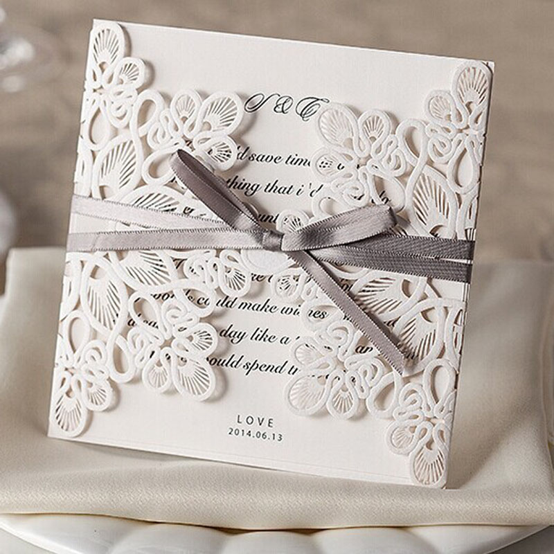 20pcs Fl Design Pure Love Wedding Invitations With Bow In White Elegant Cards From Home Garden On Aliexpress