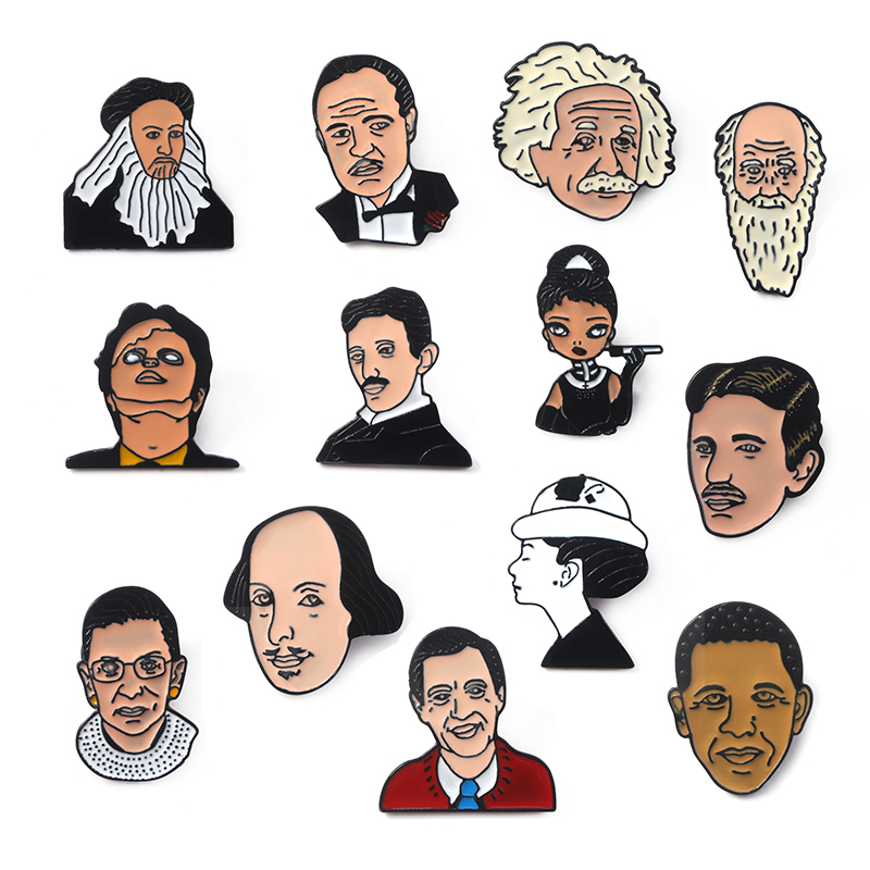 13 Styles Cartoon Celebrity Portrait Enamel Pins Brooches for Women Men Shirt Coat Bag Badge Lapel Pin Jewelry Gift