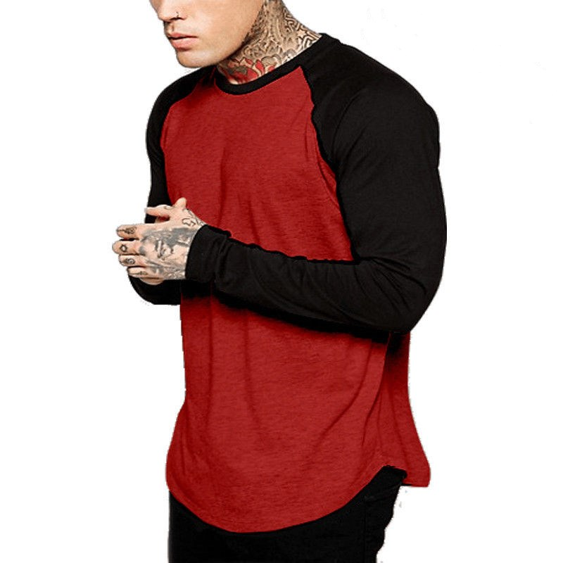 Men Baseball Long Sleeve T-Shirt Crew Fashion Sports Team Jersey Raglan Tee Cotton Tees For Men