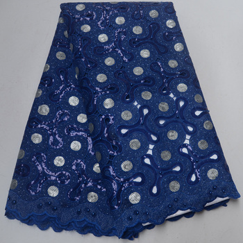 Free shipping (5yards/pc) Latest African handcut organza lace fabric royal blue with shining sequins and beads for party OP80