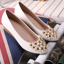 Rhinestone Flower Flat Shoes Women's 2016 Spring Single Shoes Wedged Pointed Toe Leather Shoes Zapatos Mujer Ladies Shoes