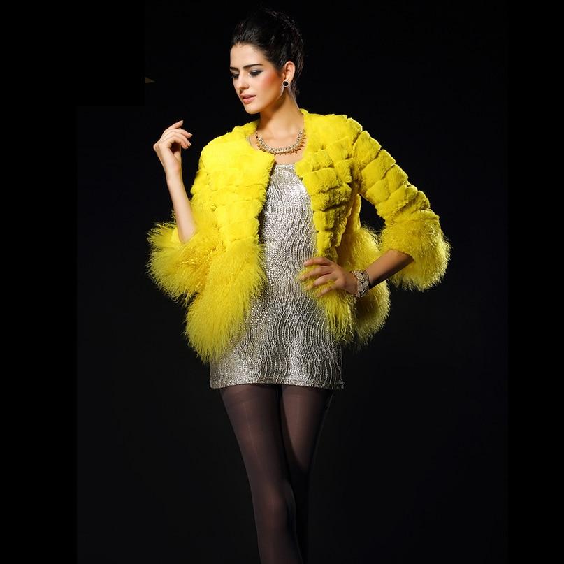 2019 New Real Fur Coat Women Full Pelt Rabbit Fur Jacket Winter Fur Coat Sheep Fur Hem Customized Plus Size Free Shipping F1089