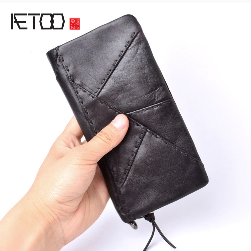 AETOO Original handmade wallet men retro patchwork wallet first layer of leather large long zipper wallet men Vintage wallet