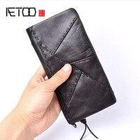 AETOO Original handmade wallet men retro patchwork wallet first layer of leather large long zipper wallet men Vintage wallet