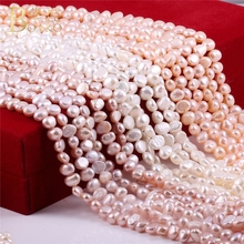 BOAKO Natural Freshwater Pearl Beads for Jewelry Making Baroque Beads Women necklace Bracelet Pearl beads white Z5 недорого