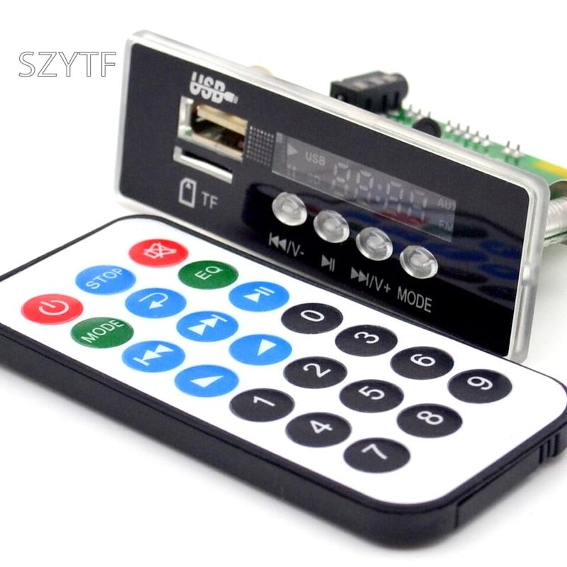 Оптовая продажа 7 ~ 12 В Автомобильная гарнитура Bluetooth MP3 APE декодирующая плата с Bluetooth модулем FM MP3 комплект светодиодный USB декодер аудио карт ...