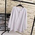 Básico Casual Camisa Blusa Mulheres Plus Size 3XL Solto Camisas de Manga Longa Com Decote Em V Rosa Vermelho Cinza KK1879