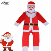 Ainclu 7 15Y Hot Santa Claus Cosplay Costumes for Kids Ice Silk Print Jumpsuit Boys Girls Fanncy Suits Christmas Costume