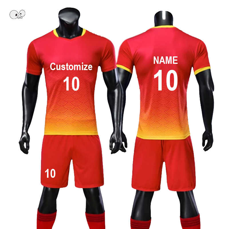 41c80d31f Customize Soccer Jerseys Set Men Football Team Uniform Kit Boys Kids DIY  Print Futsal Suit Short