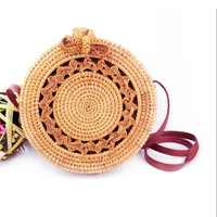 New Handmade Rattan Woven Round Women Crossbody Bag Vintage Straw Square Box Messenger Bag Lady Summer Cute Beach Shoulder Bag