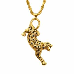 Karopel New Hip-hop Leopard Pendant Necklace For Men&Women Fashion Gold Statement Crystal Necklace Drop Ship