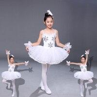 New trẻ em múa ba lê tutus giai đoạn mặc sequins flower ballerina trắng dress cô gái leotards ballet thiên nga múa trang phục cho trẻ em