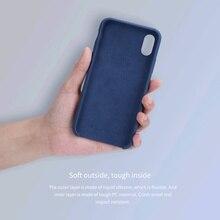 Original para o iphone x Caso NILLKIN Líquido Silicone Case Voltar Para O iphone X Ultrafino Soft Gel De Borracha Para iphone X Fundas Coque 10