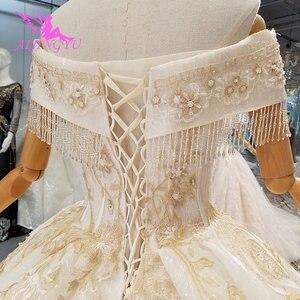 Image 4 - AIJINGYU voile de mariage musulman Simple dentelle blanche et Tulle grande taille avec Royal médiéval jolies robes de mariée avec manches