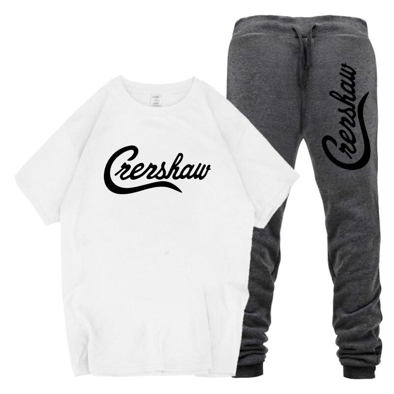 New 2019 Crenshaw Letter Print High Quality Cotton T Shirt Men's T-Shirt And Pants Set Crenshaw Letter Sweatpants Crenshaw Sets