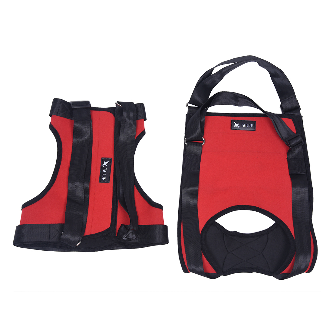 Practical Boutique TAILUP Polyester Dogs Front & Rear Lifting Harness - Soft medical dog Carrier(S Red)