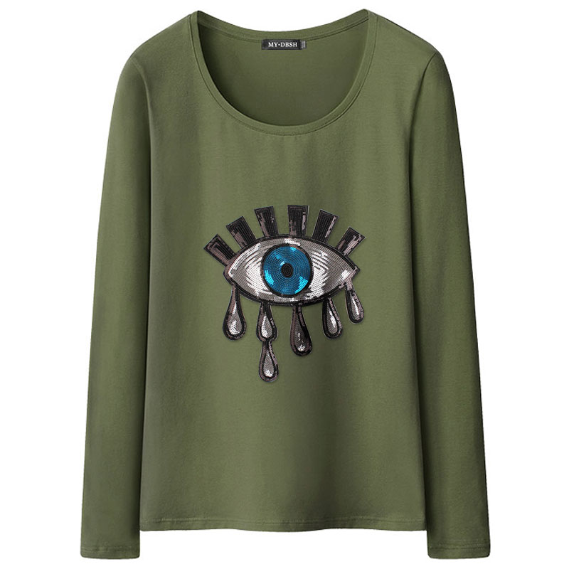 b40a2e97a6 2019 New Fashion Summer Cotton Women Tears T Shirts Ladies Big Eyes  Embroidery Sequins Loose Style T Shirts Women Casual Tops