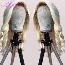 Perruque Lace Front Wig Body brésilienne Remy naturelle, pre-plucked, blond 613, pour femmes noires
