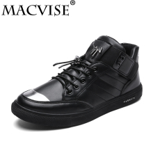 2018 New Fashion Microfiber Vulcanize Shoes for Men Flats Rubber Designer Shoes Solid Male High Top Sneakers Zapato Hombre