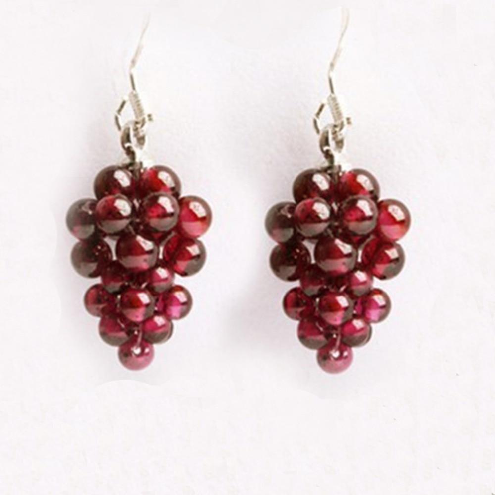 crocheted garnet - Natural Garnet Earrings female 925 silver ear hook fashion jewelry drop earring grape