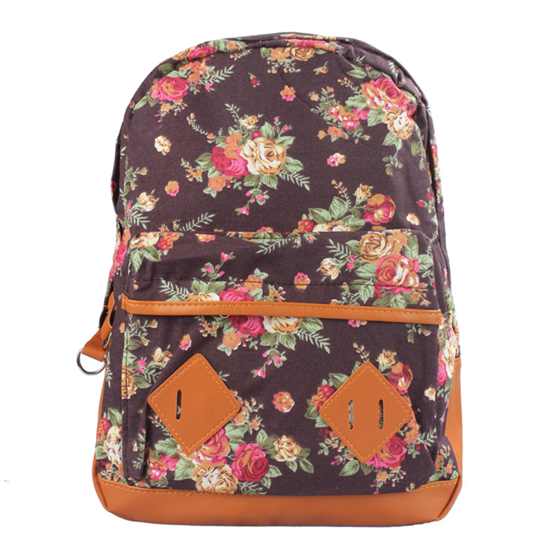 New Cute Korean Style Double Shoulder Book Bags Fashion Girls Women Floral Print Canvas Schoolbag Students