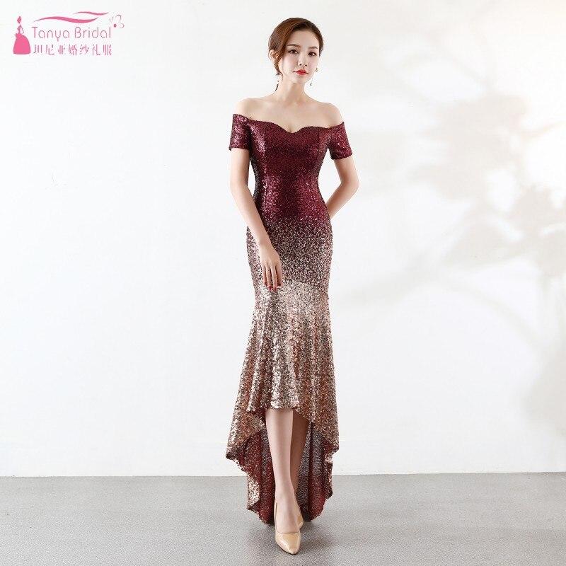 Short Front Long Back Burgundy Gold Bridesmaid Dresses Off Shoulder Boat Neck Vestido De Festa Wedding Guest Dress JQ128