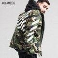 Aolamegs Jacket Mens Military Style Camouflage Jacket Coat Fashion Striped Printing Harajuku Windbreaker Outwear Chaqueta Hombre