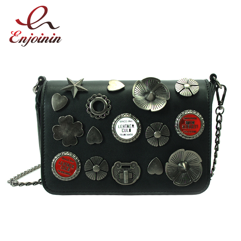 Fashion casual metal badge 3 colors pu leather ladies chain shoulder bag handbag crossbody mini messenger bag purse flap  fun fashion personality disposable leather pu leather chain shoulder bag handbag female crossbody mini messenger bag purse