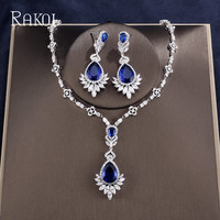 RAKOL Sumptuous Big Blue Color Water Dorp Pendant Earrings Necklace White Gold Color Exquisite Crystal Jewelry Ste For Women
