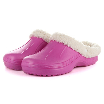 product 2016 Hot Women Winter Fur Warm Mules Clogs Zuecos Mujer Hombre EVA Garden Clogs Shoes For Woman Rubber Slippers Family Slipper