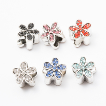 10 pcs Crystal Daisy European beads Fit Pandora Charms Original Bracelet Spacer Charm Beads Jewelry Making  DIY Berloque js1461