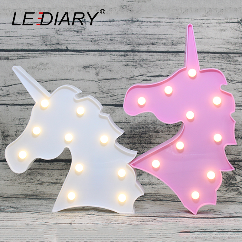 LEDIARY Romantic Marquee Sign Night light Unicorn White Pink Horse Decoration Bedside Lamp Dot LED Gifts For Kids Party Wedding 12inch pink metal rabbit light led marquee sign light up night light child s room deration