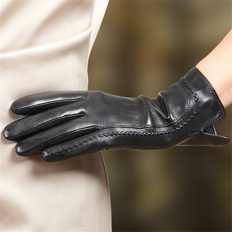 2018 Fashion Women New Arrival Touchscreen Genuine Leather Gloves Wrist Solid Winter Plus Velvet Driving Sheepskin Glove L165NC2