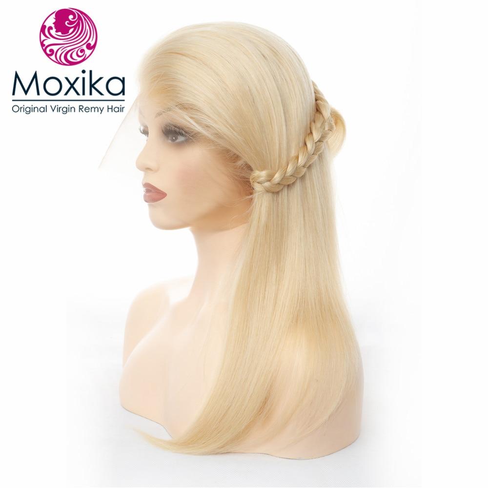 Moxika cheveux droite 613 pleine perruque de dentelle avec des cheveux de bébé Blonde 150% densité brésilienne Remy perruque de cheveux pré plumée ligne de cheveux naturelle