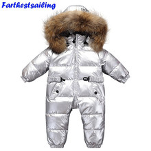 2018 Winter Baby Rompers Jumpsuit Baby Onesie Children Duck Down Overalls Toddler Kids Boys Girls Fur Hooded Jacket Snowsuits(China)