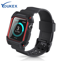 YOUKEX TPU Band With Protective Flame For Apple Watch 38mm 42mm Fashion Durable Iwatch Bracelet Wrist