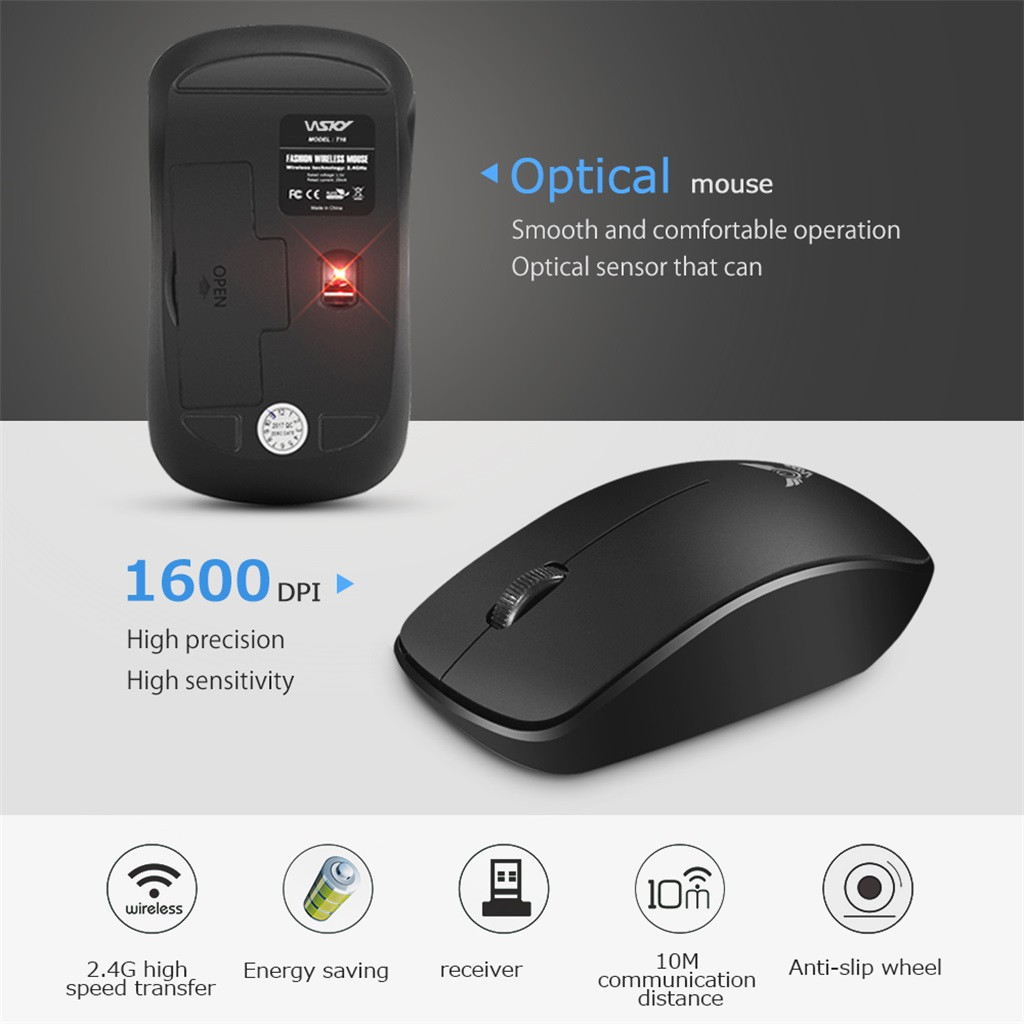Wireless Mouse USB Receiver Optical Sensor For PC Laptop Tablets