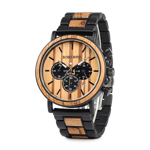 BOBO BIRD Wooden Watch Men erkek kol saati Luxury Stylish Wood Timepieces Chronograph Military Quartz Watches in Wood Gift Box 7