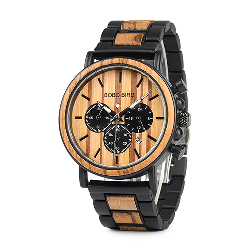 BOBO BIRD Wooden Watch Men erkek kol saati Luxury Stylish Wood Timepieces Chronograph Military Quartz Watches in Wood Gift Box |
