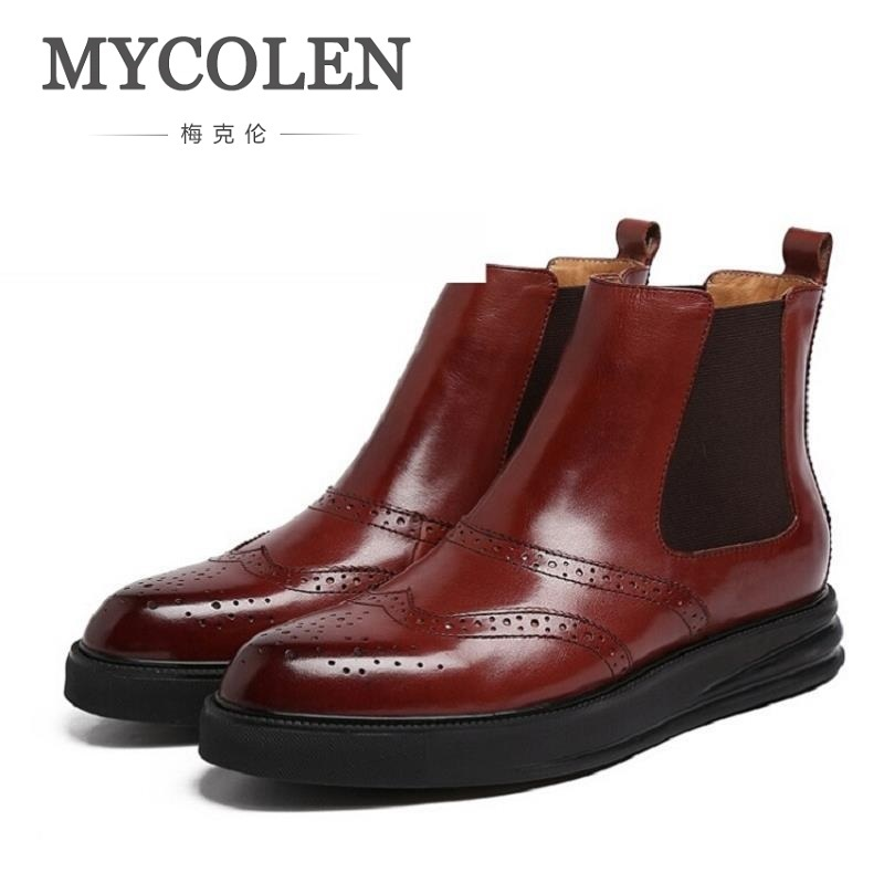MYCOLEN High Quality Men Winter Boots New Fashion Men Boots High Top Genuine Leather Men Boots Mens Thick Bottom Winter Footwear autumn warm plush winter shoes men zipper 100% genuine leather boots men thick bottom waterproof black high top ankle men boots