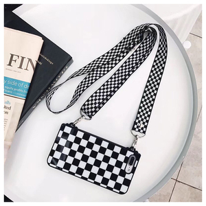 Image 2 - Black White Checkered Plaid Phone Crossbody Case Cover with long strap chain for iPhone 11 PRO XS MAX XR X 6S 7 8 plus Case Cove